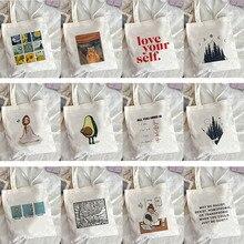 shopping Bag Canvas Shoulder Bag Cute Female Harajuku Ulzzang Grunge Tote Shopper Bag