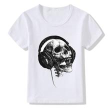 Cool Music DJ Skull Print T shirt Kids Baby Summer Tshirt Clothing Harajuku Funny Children T-shirt Boys Girls O-neck Tops Tees