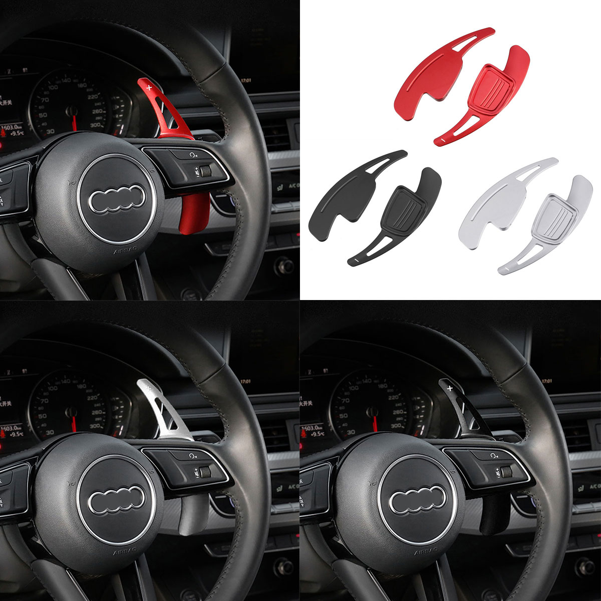 2X Car Steering Wheel Shift Paddle Plate Shifters Extension Replacement Accessories For Audi A4 B9 A5 2017 2018