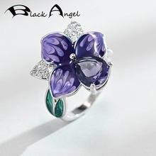 Черный Ангел фиолетовая эмаль русские цветы кольцо 925 серебро