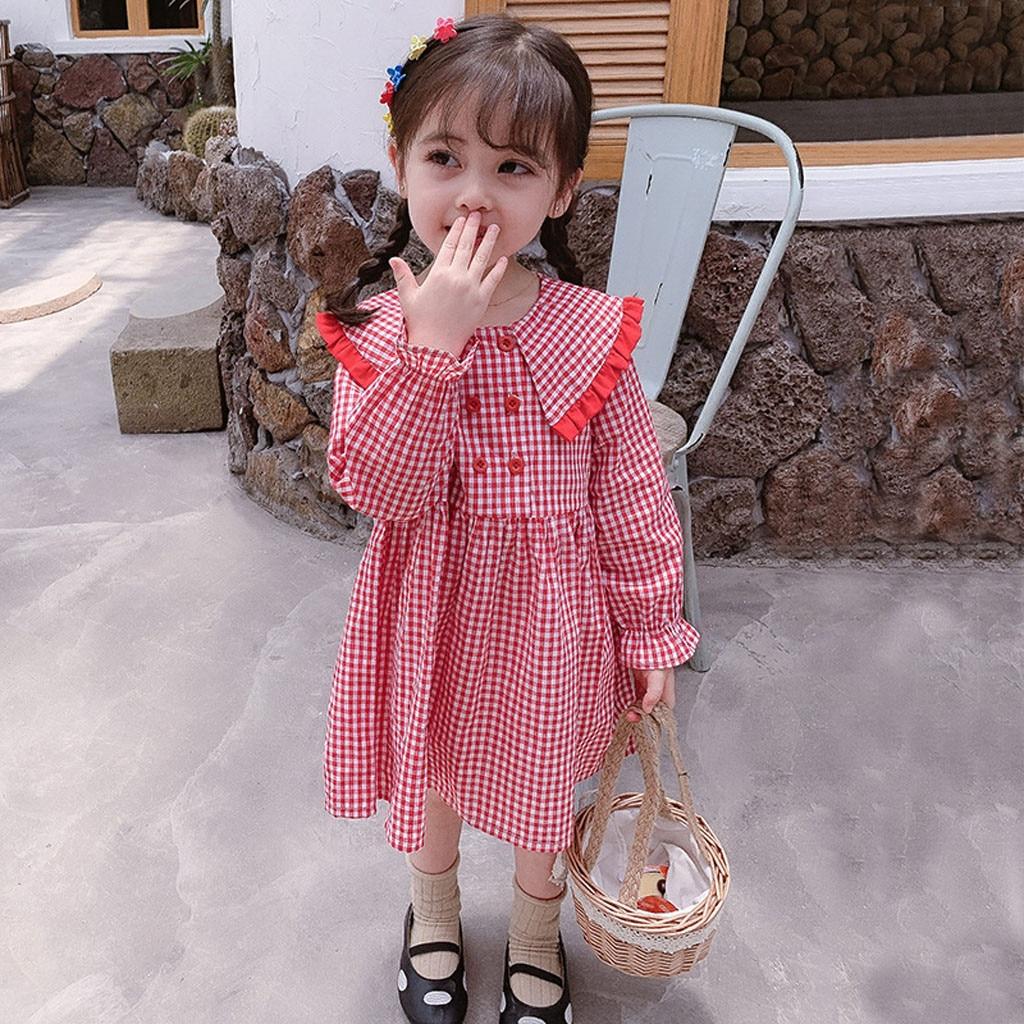Baby Kid Girls Long Sleeve Peter Pan Collar Plaid Princess Party Dress Outfits