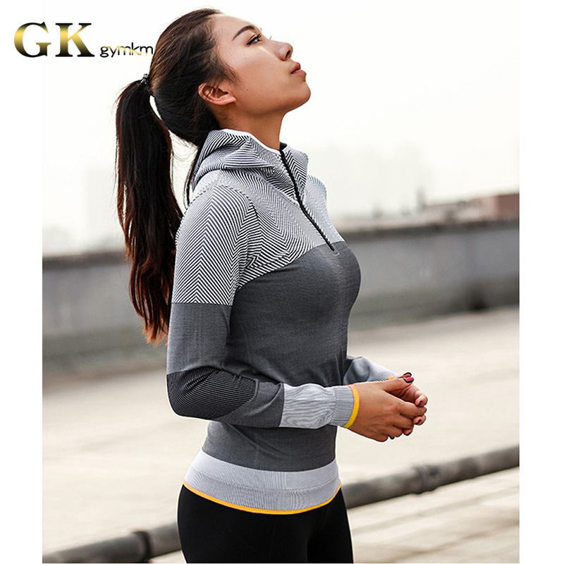 Gymkm Women Yoga Top Seamless Running Jacket Sport Coat Lady Fitness Breathable Workout Gym Jersey Long Sleeve Zipper Sweatshirt