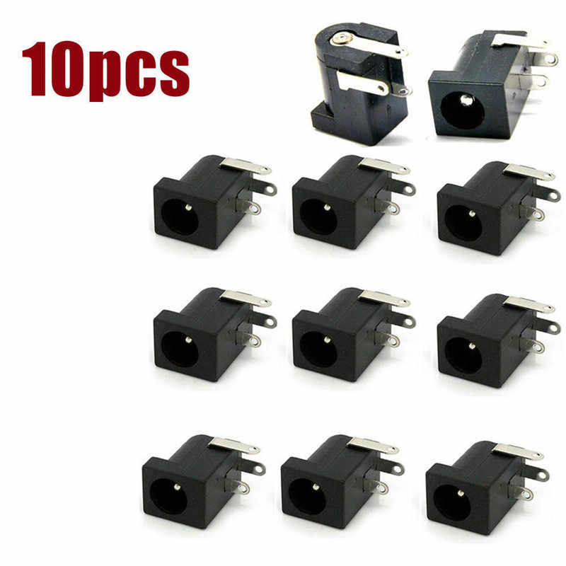 10 Stuks 5.5X2.1Mm DC-005 Zwart Dc Power Jack Socket Dc Connectors Supply Barrel Type Haakse pcb Mount Terminal Connector Pinnen