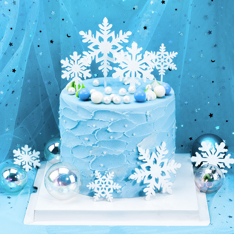 Miraculous Cakelove 4Pcs Acrylic Romantic White Silver Snowflake Collection Funny Birthday Cards Online Alyptdamsfinfo