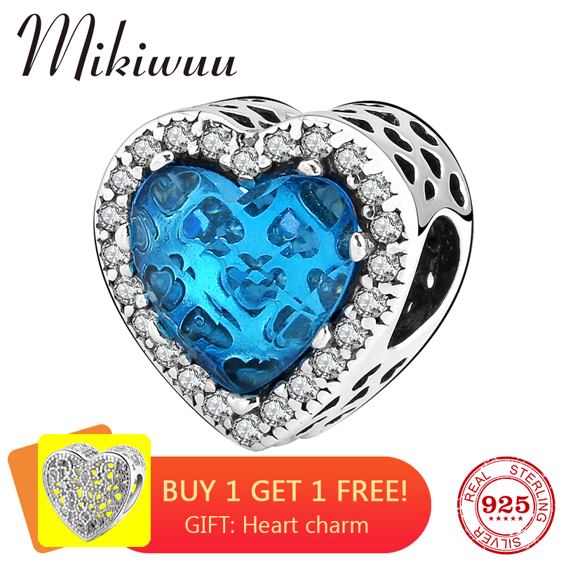 New 925 Sterling Silver Heart Shape Blue Zircon Diy Beads Womens Accessories Jewelry Making Fit Original Pandora Charms Bracelet