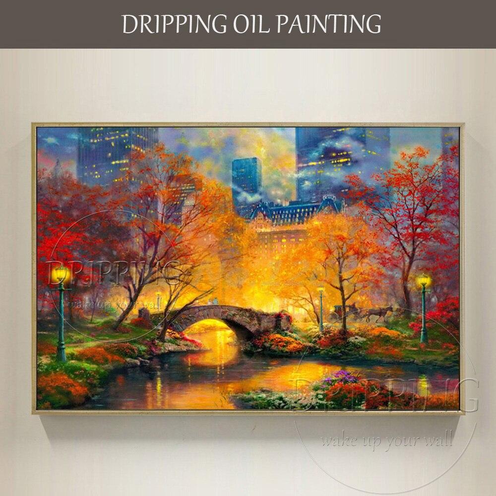 Высококачественный Центральный парк с ручной росписью в виде одаренного художника, осенняя картина маслом, воспроизводящая Томас Кинкейд, пейзаж, масляная живопись