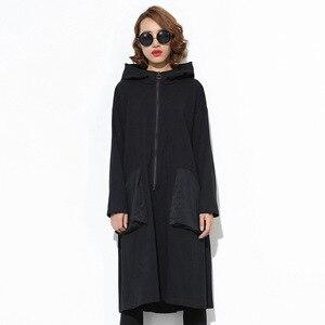 Image 5 - 새로운 2019 일본 스타일 여성 겨울 블랙 후드 드레스 포켓 지퍼 긴 소매 레이디 플러스 크기 휴일 캐주얼 미디 드레스 j220