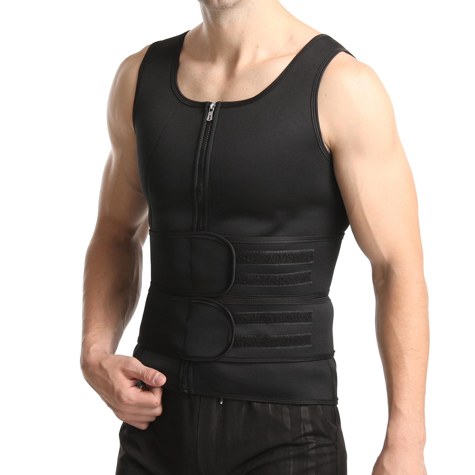 Men Neoprene Sauna Sweat Vest Workout Waist Trainer Slimming Shirt Fitness Tank Top Fat Burner for Weight Loss Corsets