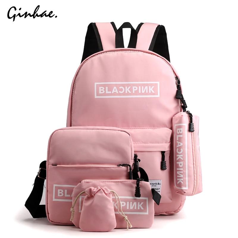 Preppy Style Nylon Letter Crossbody Bag Women 5pcs Waterproof Backpack Large Capacity Travel Set Bag Teenager School Backpack