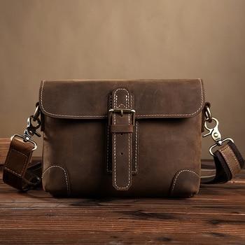 Classic Handmade Men Function Waist Belt Bag Genuine Leather Men's Crossbody Shoulder Bag Mobile Phone Wallet Tools Organizer