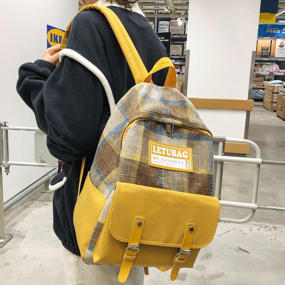 Student Female Linen Backpack Luxury Women Book Fashion School Bag Girl Kawaii Plaid Backpacks Harajuku Canvas Lady Bag Cute New