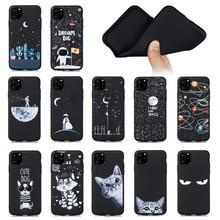 Black Soft TPU Case For iPhone 11 Pro Max Cover X XR XS Cute Silicone Anti-fall Capa
