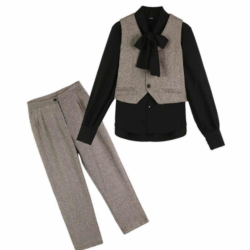 אביב 3 חתיכות סט נשים בסוודרים ארוך שרוול חולצות חולצות ללא שרוולים חולצות אפוד רחב רגל מכנסיים חליפת נשים של סטי 2019
