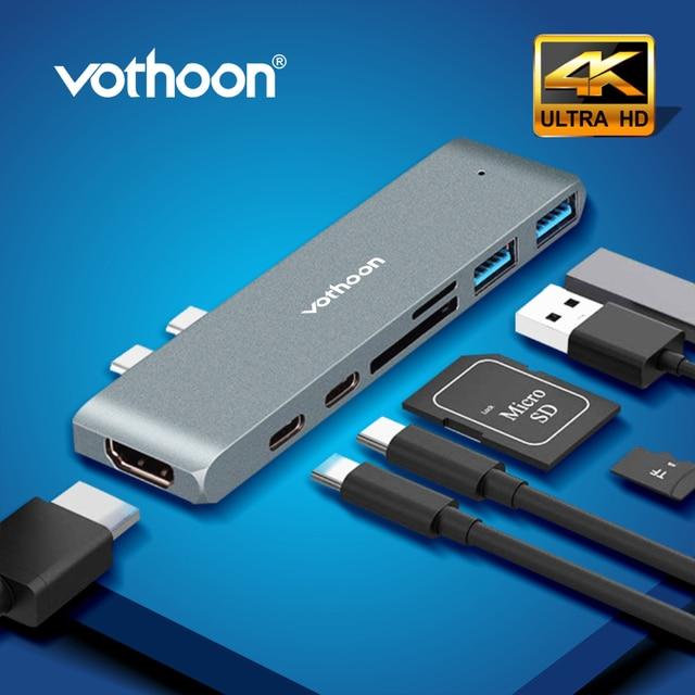 Vothoon USB C HUB Çok USB3.0 HDMI USB macbook için HUB Pro Hava USB Splitter 7 Port Thunderbolt 3 HUB Çift USB Tipi C HUB