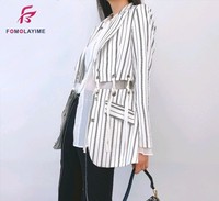 Spring Summer Blazers 2020 High end Women Suits Blazers Stripes Lace up Connect Individual Fashion Blazer Coats