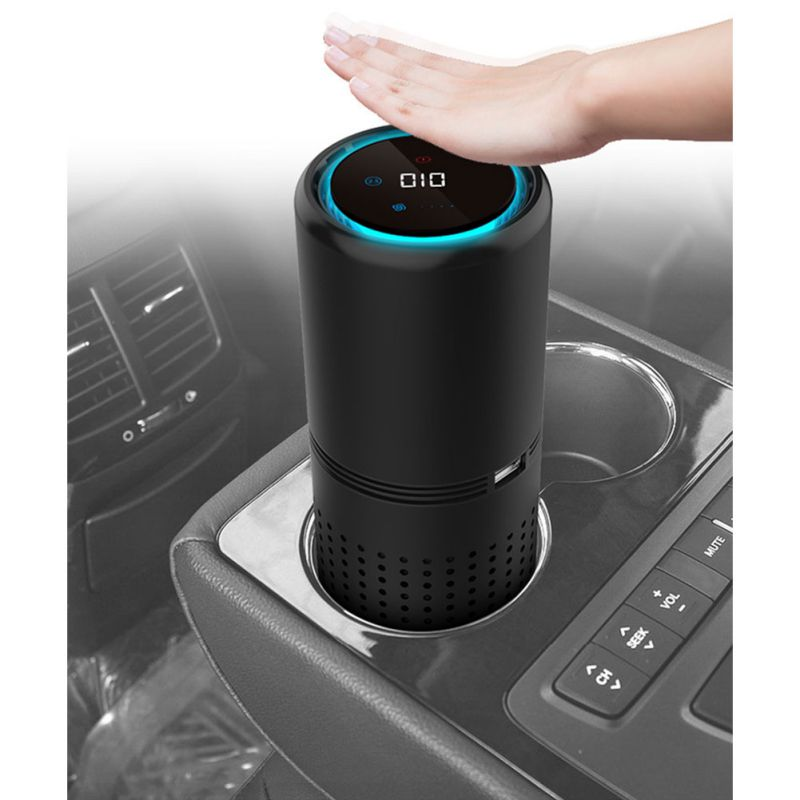 Car Air Purifier Negative Ion Generator Air Freshener Cleaner Remove Formaldehyde Gesture Control Aromatherapy HEPA Filter
