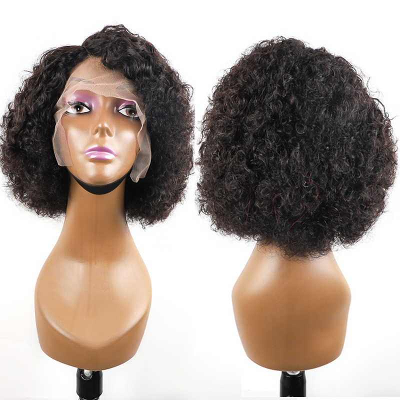 May Queen Lace Part Wigs 10 Inch Middle Part Brazilian Kinky Curly Human Hair Wigs T Part Wig Pre Plucked With Baby Hair