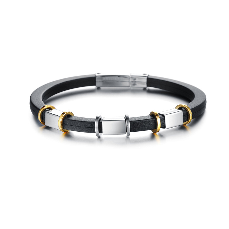 New Punk Stainless Steel Bracelets & Bangles Silicone Bracelet Men Jewelry Silver Color Friendship Male Accessories 2018