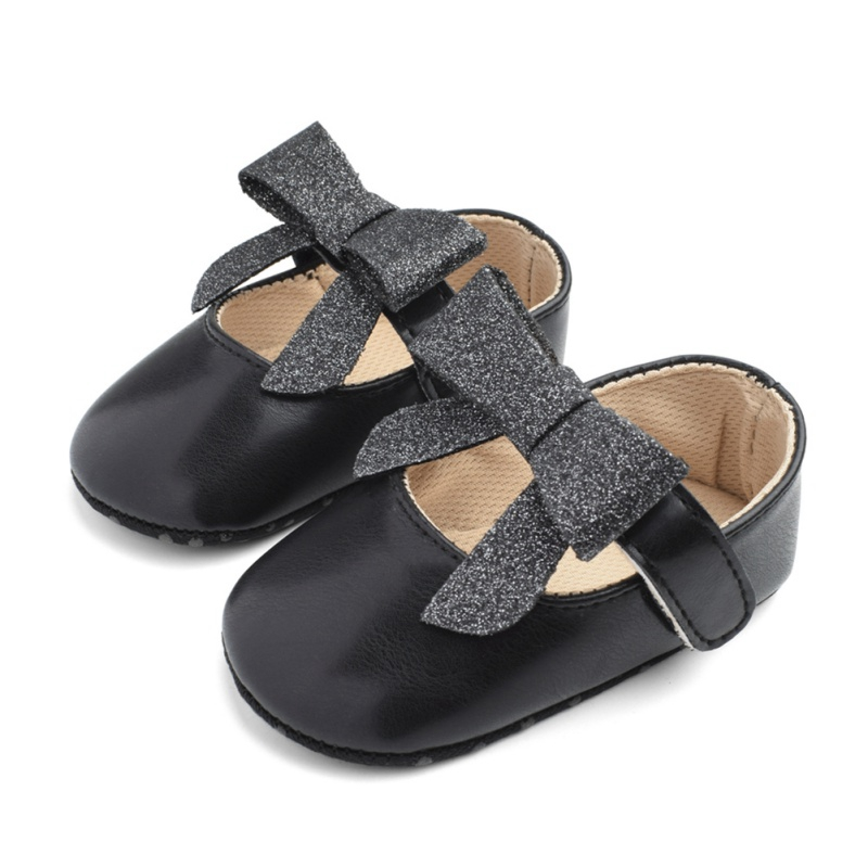 Toddler Cute Girl Shoes Solid Color Tie Soft Newborn Anti-slip Baby Bow-knot Shoes Soft Sole Kids Footwear