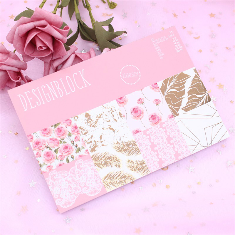 KSCRAFT 16pc Flowers Scrapbooking Pads Paper Origami Art Background Paper Card Making DIY Scrapbook Paper Craft