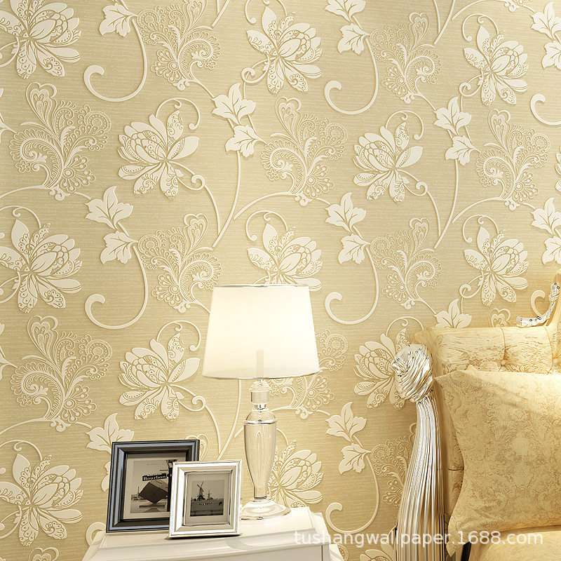 Simple European Style Nonwoven Fabric Thick Stereo Relief 3D Wallpaper Bedroom Living Room Television Background Wall Zhi Yi Scr