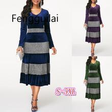 Autumn Winter Women Plus Size Sequin Velvet Dress Elegant Party Purple Fashion Ruffle High Waist Office Ladies Blue Midi Dresses