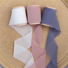 3 stücke Ausgefranste Chiffon Silk Band mit Holz Spool 4cm x 5m Hochzeit Einladung Bouquets Band Handgemachte Hintergrund handwerk Flatlays Decor