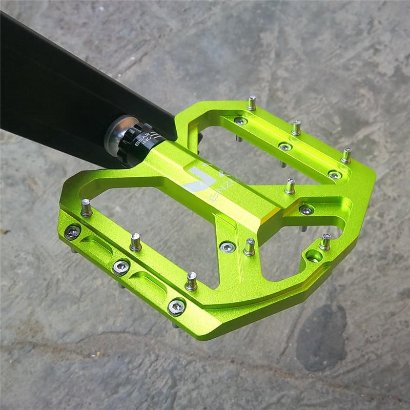 ENZO Road Mountain Bicycle Bike Pedal 3 Bearing Steel Flat-Platform Pedals Green