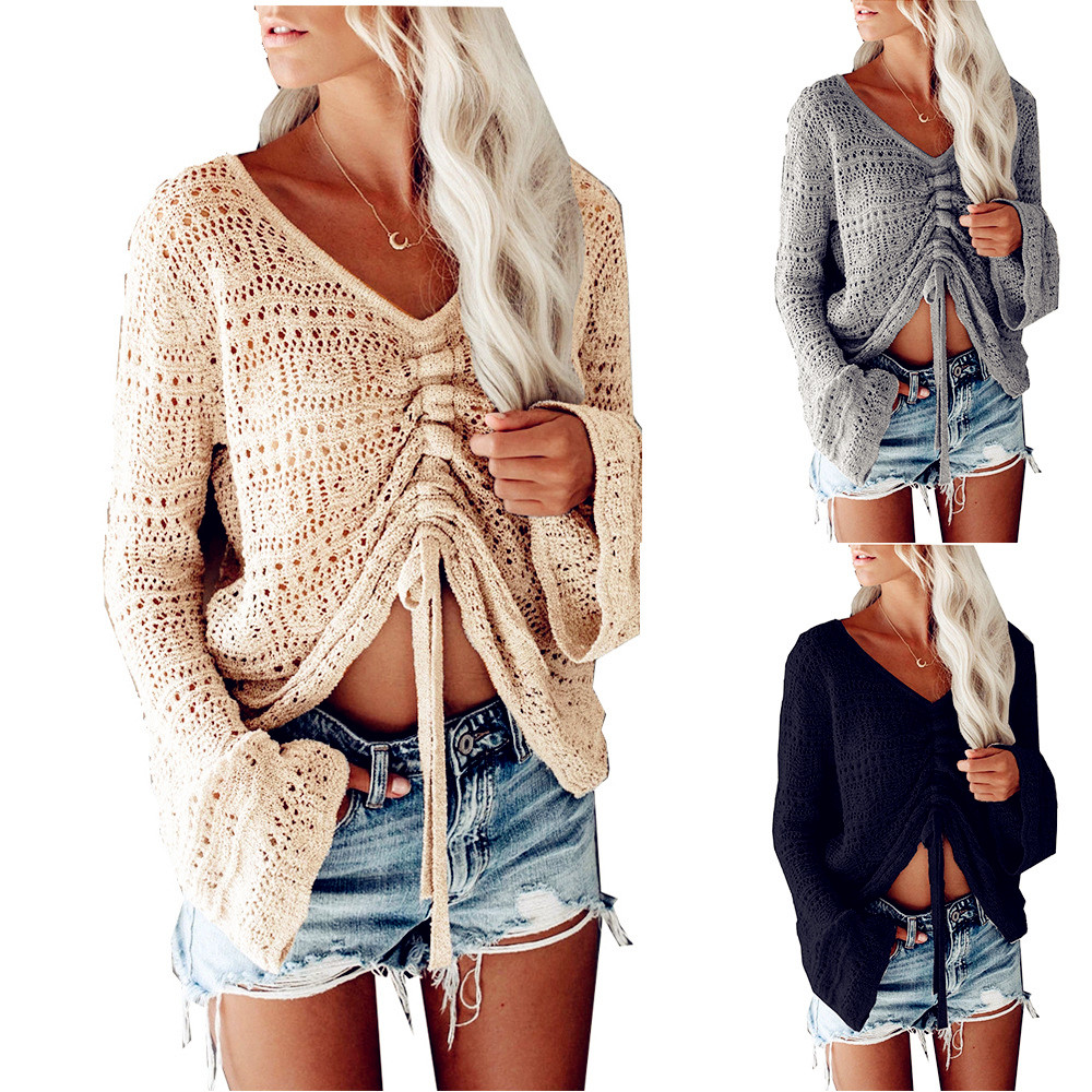 Winter Pullover Sweater Women Sexy Tops Lace Hole Plus Size Casual Long Sleeve Pull Female Knit Solid Sweaters Pullovers
