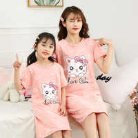 Niñas verano Camisón de algodón de los pijamas de los niños de la noche vestido de niña niños camisón ropa de dormir Bebé Ropa mangas cortas