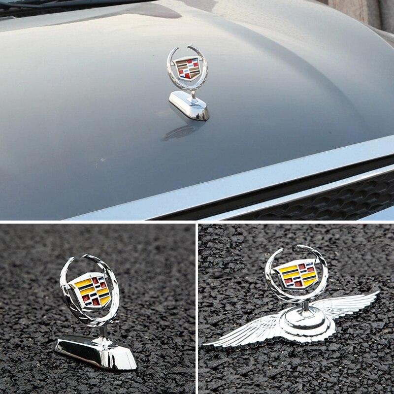 Chrome Hood Cover Emblem For Cadillac CTS BLS Escalade Seville Tiburon SLS XTS XT6 CT6 Bonnet Sticker Automobile Modification