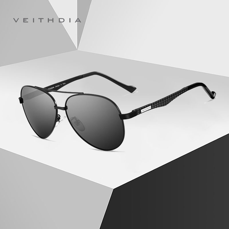 VEITHDIA New Design Aluminum Sunglasses Pilot Style Frame HD Polarized Mirror Sunglasses Eyewear For Men UV400 Protection 3850