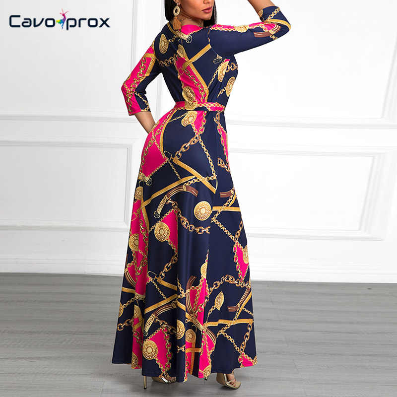 Для женщин цепи с v-образным вырезом и рисунком «Лимон Макси платье в богемном стиле с длинным рукавом платье-футляр размера плюс Обёрточная бумага ремень на лодыжке-Длина Slim Fit Клубное платье