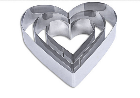 3-PIECE stainless steel heart cake mold metal mousse ring bread mold baking tools for cake