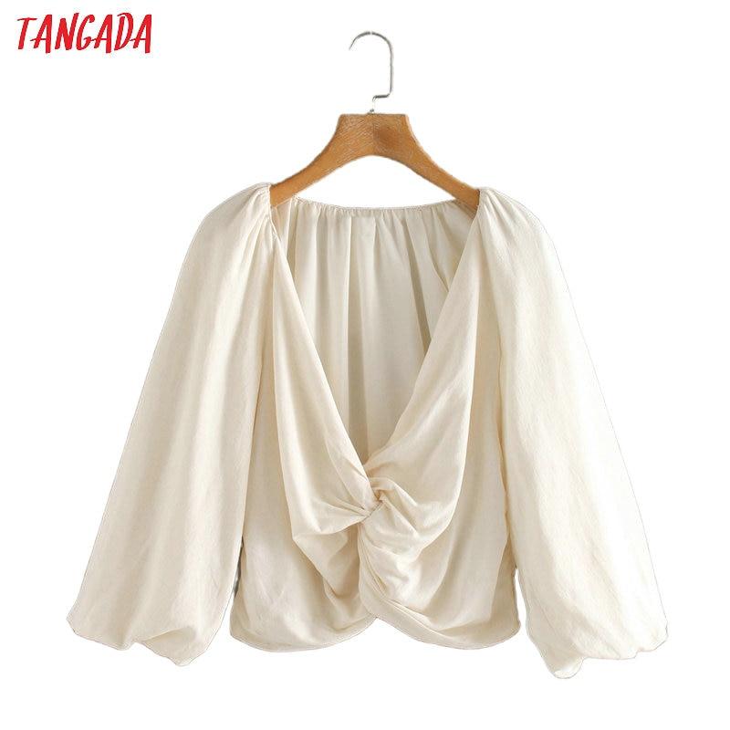 Tangada Women Retro Solid Bow Blouse Pleated 2020 New Chic Female Casual Shirt Blusas Femininas 2W118