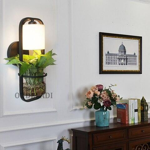 lampadas de parede vidro americano moderno ferro