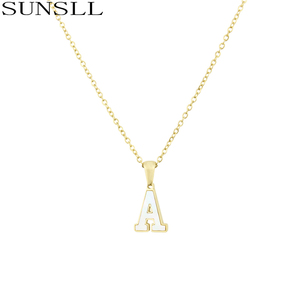 SUNSLL New Gold stainless steel necklace white shell A-Z 26 letter necklace for women fashion party jewelry pendant necklace