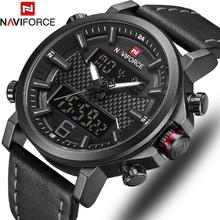 NAVIFORCE Top luksusowa marka wojskowy zegarek kwarcowy męskie zegarki LED data zegarek analogowo-cyfrowy moda męska zegarek sportowy Relogio Masculino tanie tanio 25cm Moda casual Podwójny Wyświetlacz QUARTZ 3Bar Klamra Stop 15mm Hardlex Nie pakiet Skóra 46mm NAVIFORCE 9135 NF9135