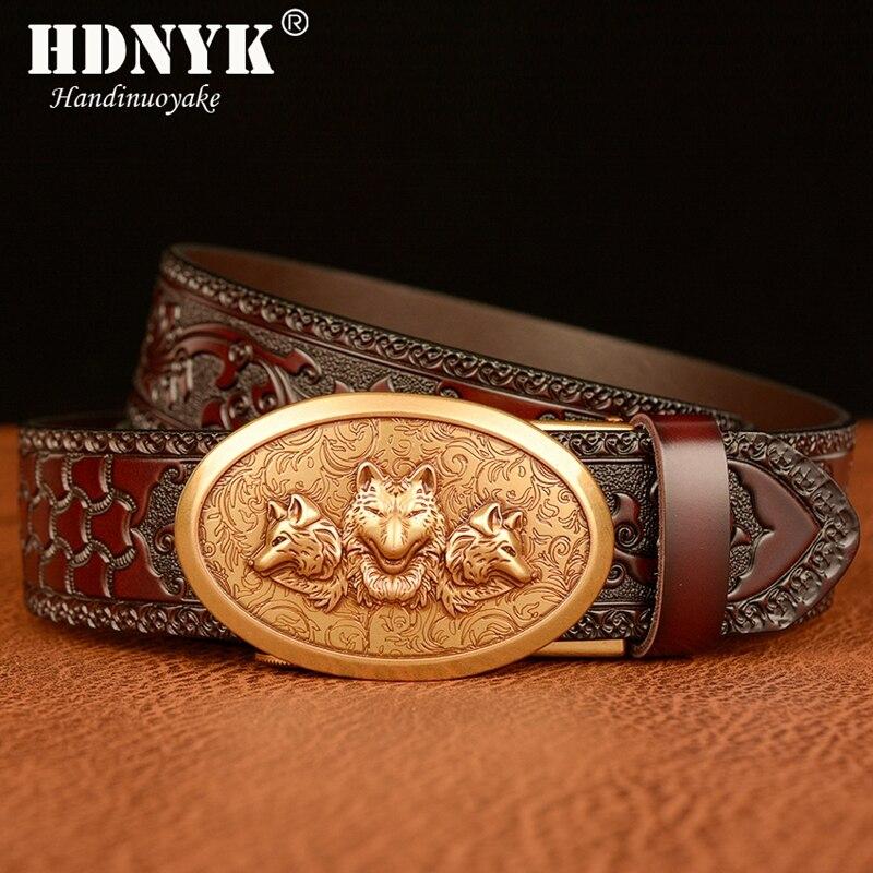 Dragon Head Metal Automatic Buckle Belt Luxury Men Cowskin Casual Pants Leather Belts,Coffeegoldbuckle,120Cm
