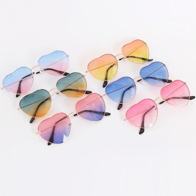 Mode en forme de coeur lunettes de soleil femmes métal clair rouge lentille lunettes mode coeur lunettes de soleil