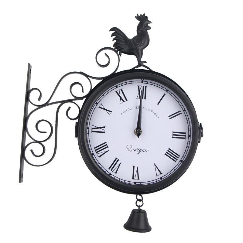wall-clock-wrought-iron-outdoor-double-sided-cock-bell-shape-hanging-metal