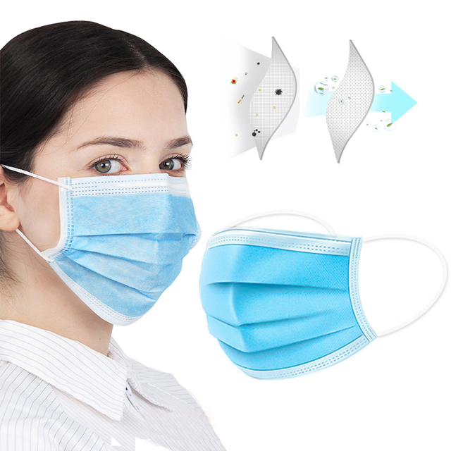 100Pcs Mask 3Ply Nonwoven Disposable Elastic Prevent Flu Hygiene Filter Mask Facial Protective Fabric Mouth Mask Anti Pollution 1