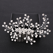 Silver Color Rhinestone Hair Comb Floral Head Piece Pearl Wedding Hair Comb Clip Crystal Bridal Hairpin Jewelry Hair Accessory недорого