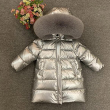 Girls long down jacket children winter thick coat really fox fur collar