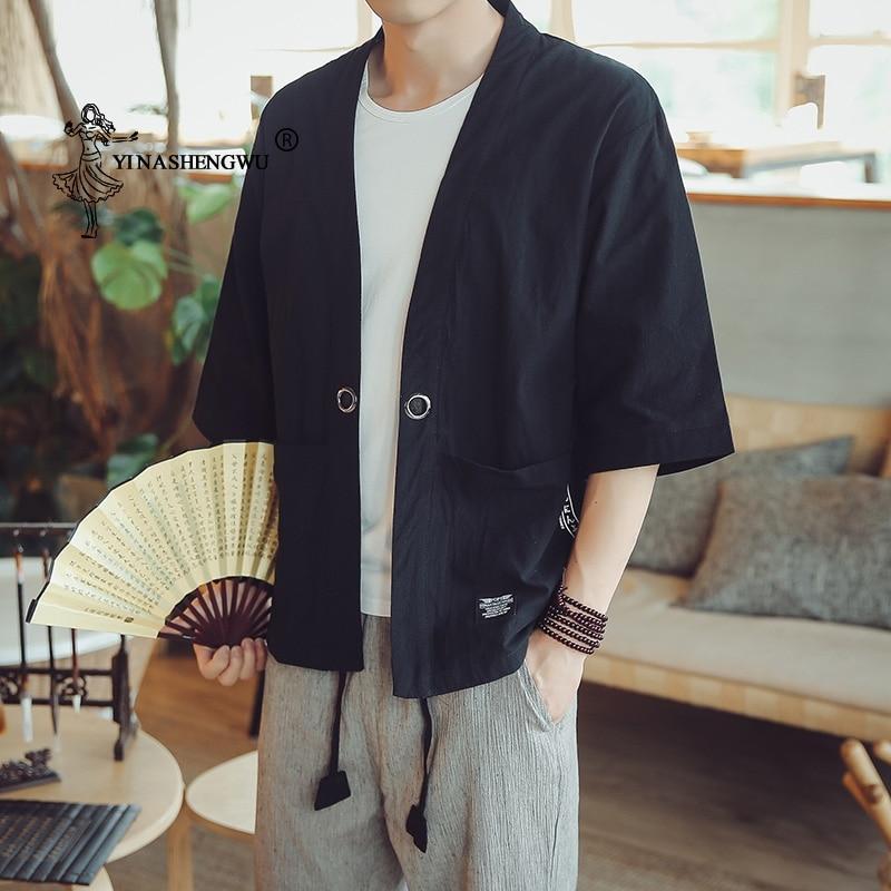Kimono Cosplay Costume Yukata Men Kimono Cardigan Men Japanese Kimonos Top Print Coats Asian Clothes Summer Beach Casual Shirts