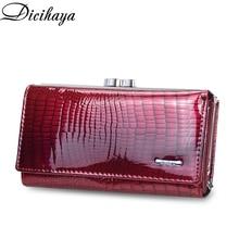 DICIHAYA Genuine Leather Women Wallet CrocodileCoin Pocket LongDesign Clutch Bag Cowhide leather Wallet Card Holder Female Purse