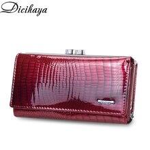 DICIHAYA cartera de piel auténtica de cocodrilo para mujer, bolso de mano de diseño largo, billetera de cuero de vaca, tarjetero