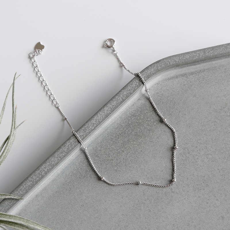 Eds tornozeleira prata 925 jóias tornozelo pulseira 925 prata esterlina pé pulseira feminina moda coreana contas de corrente do vintage tornozelos