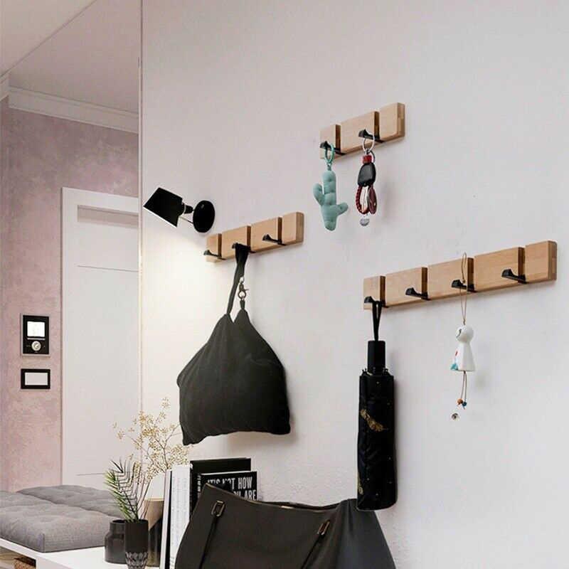 Colgador de toallas gancho de madera colgante abrigo sombrero plegable duradero para la pared de la cocina de la puerta DTT88