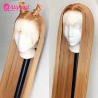 Alipearl-Peluca de cabello humano con encaje frontal para mujeres negras, color #27, liso, peruano, pre-arrancado, densidad de 150% y 180%, 1B/27
